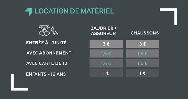 tarifs location matériel Climb Up Brest